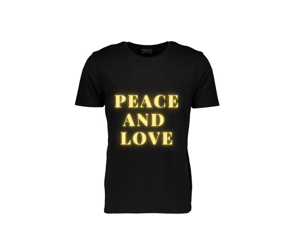 Peace And Love T-shirt gold