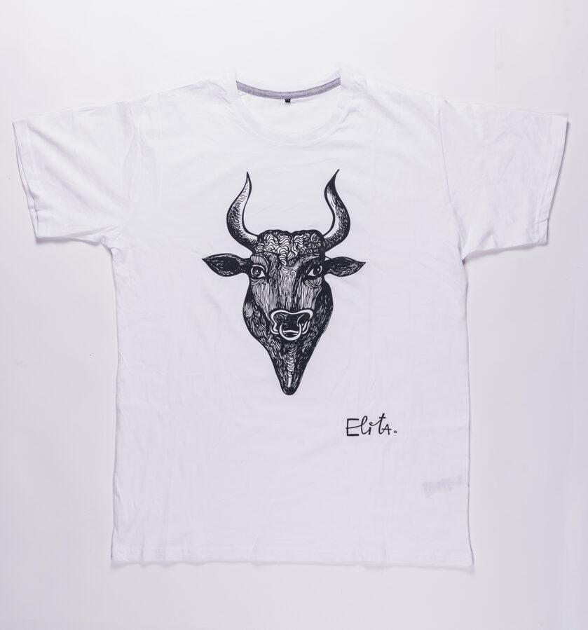 Elitas Patmalnieces T-krekls balts vērsis