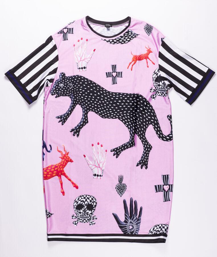 Elitas Patmalnieces īsā kleita, rozā ar zvēriem