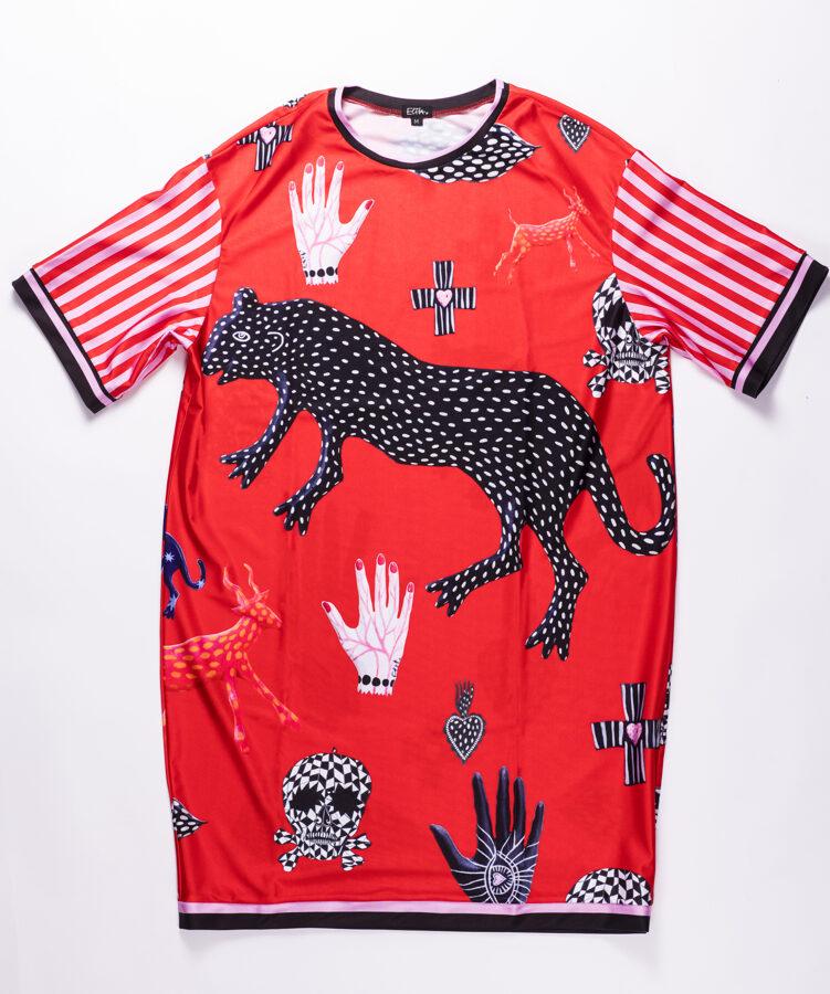 Elitas Patmalnieces īsā kleita, sarkana ar zvēriem
