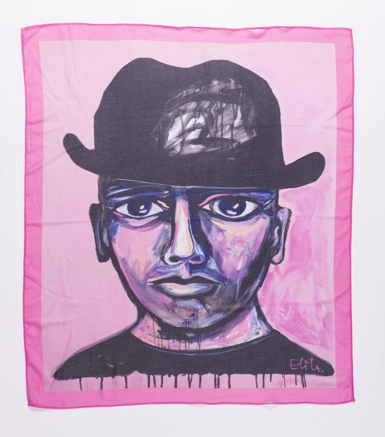 Elitas Patmalnieces mazais lakats ar gleznu Vīrietis rozā