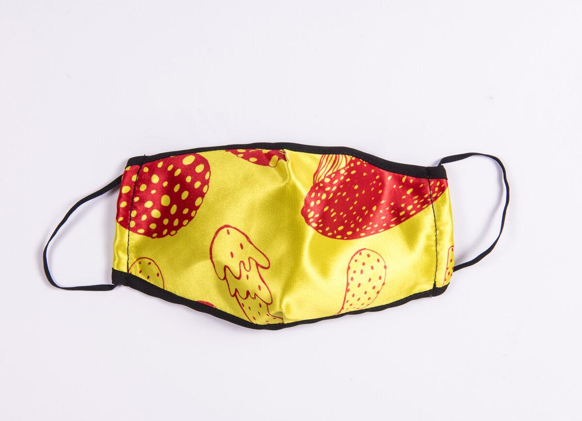 Elitas Patmalnieces sejas maska - dzeltena ar sarkanu