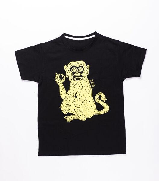 Elitas Patmalnieces T-krekls melns, mērkaķis dzeltens