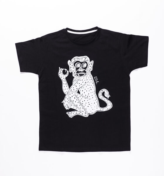 Elitas Patmalnieces T-krekls melns, mērkaķis balts