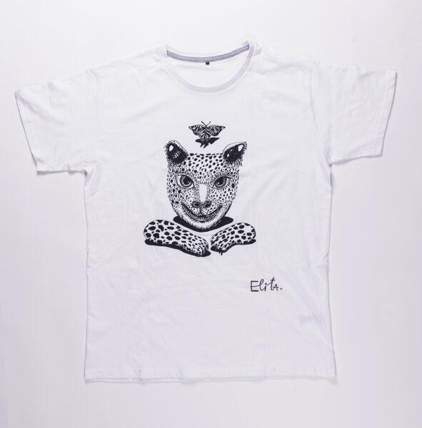 Elitas Patmalnieces T-krekls balts kaķis