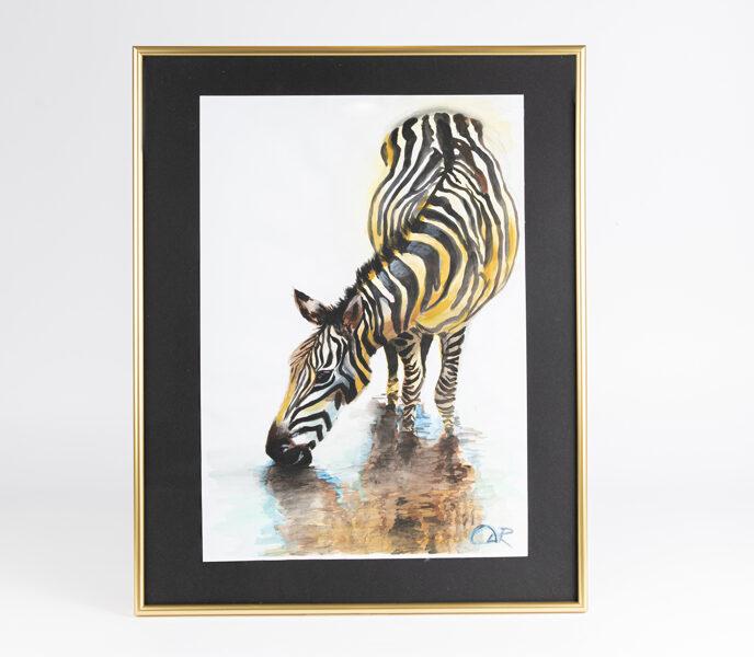 "D.Rudāne - glezna ""Thirsty Zebra"""